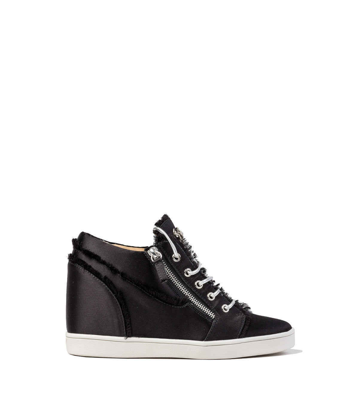 Black Sateen Wedge Sneakers