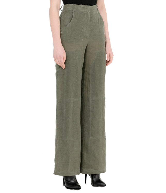 Khaki Green Linen Pants