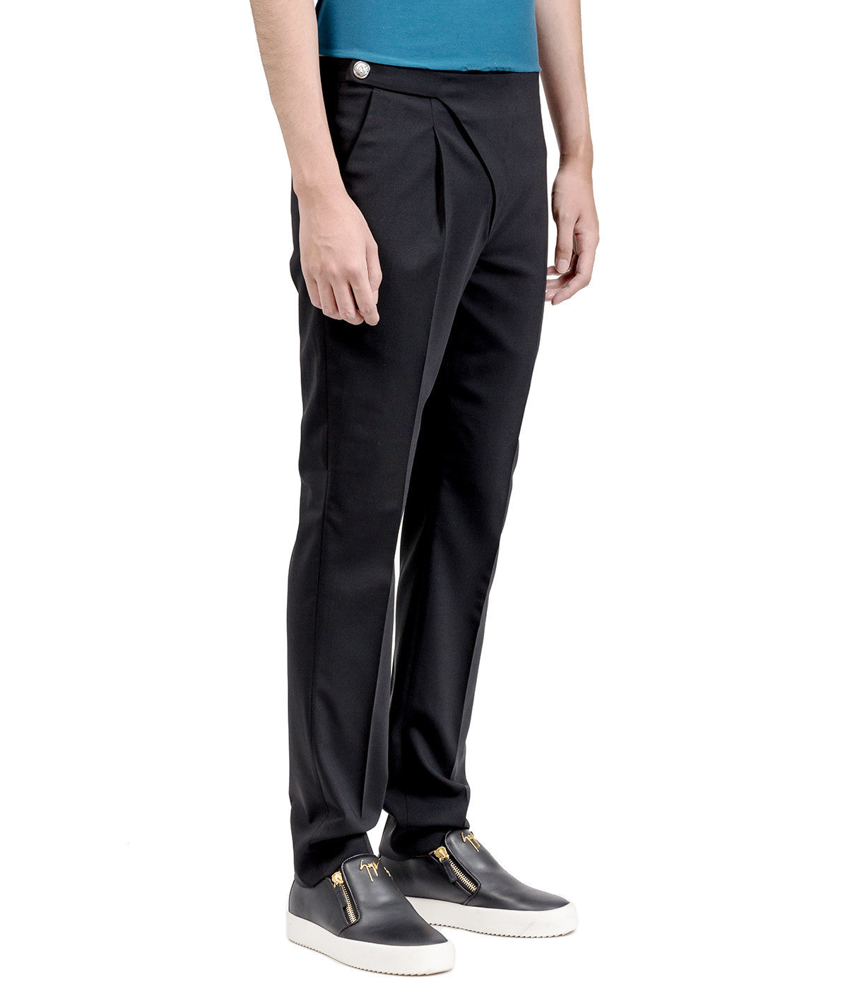 Black Foldover Fly Trousers