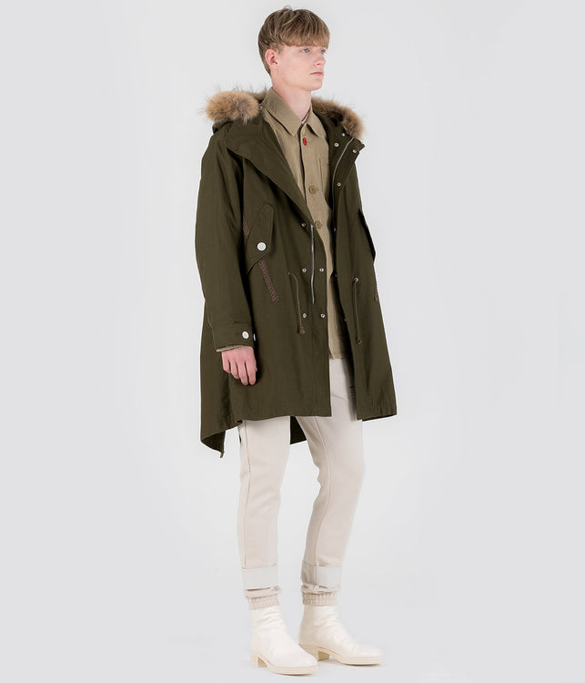 Khaki Green Fur Hood Coat