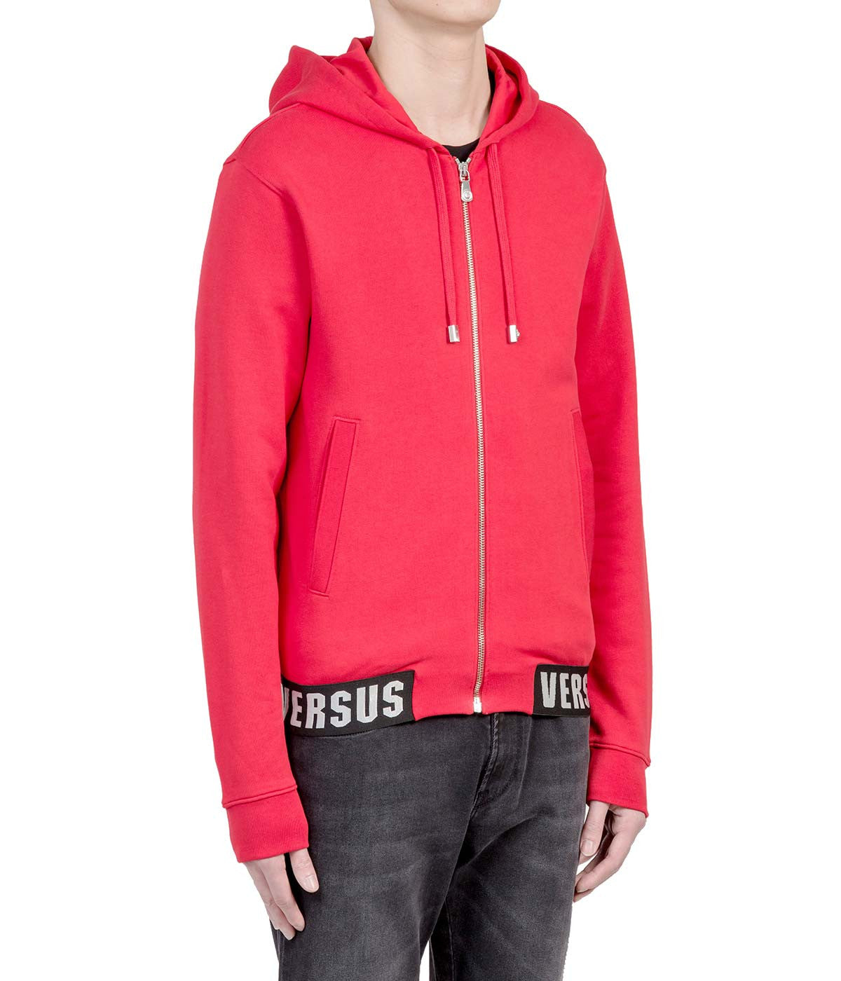 Red Banded Zip-Up Hoodie