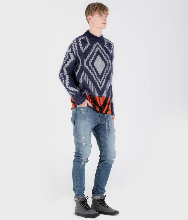 Navy Jacquard Mohair Sweater