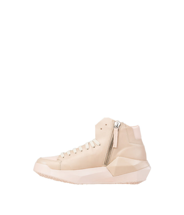 Nude Beige Geometrical High-Top Sneakers