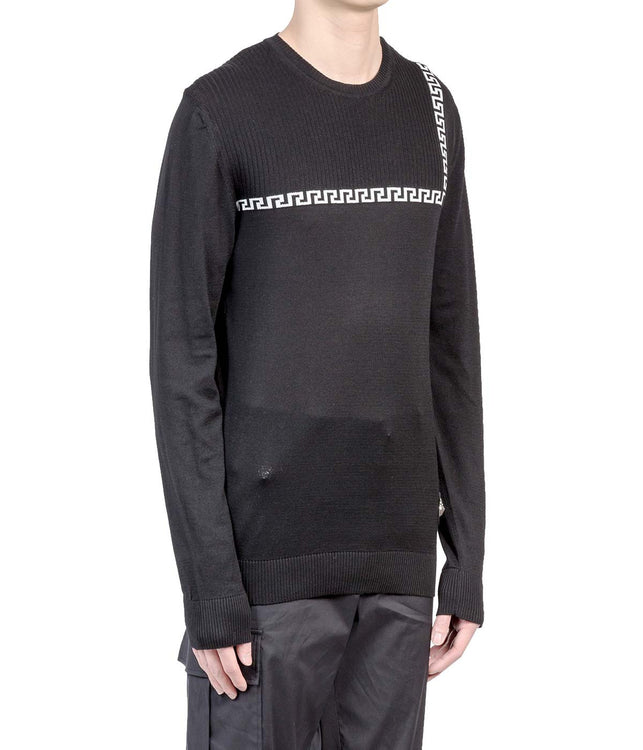 Black Contrast Knit Sweater