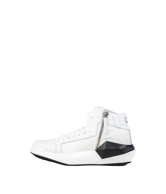 White Geometrical High-Top Sneakers