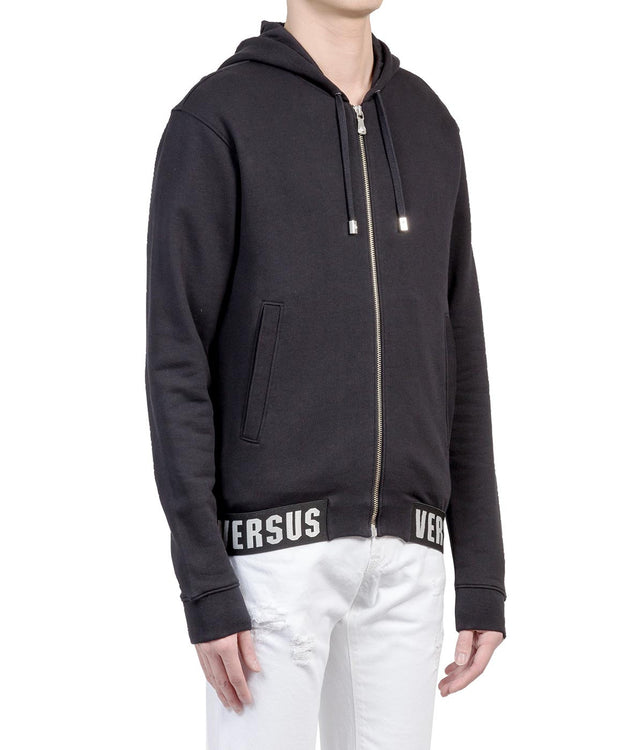 Black Banded Zip-Up Hoodie