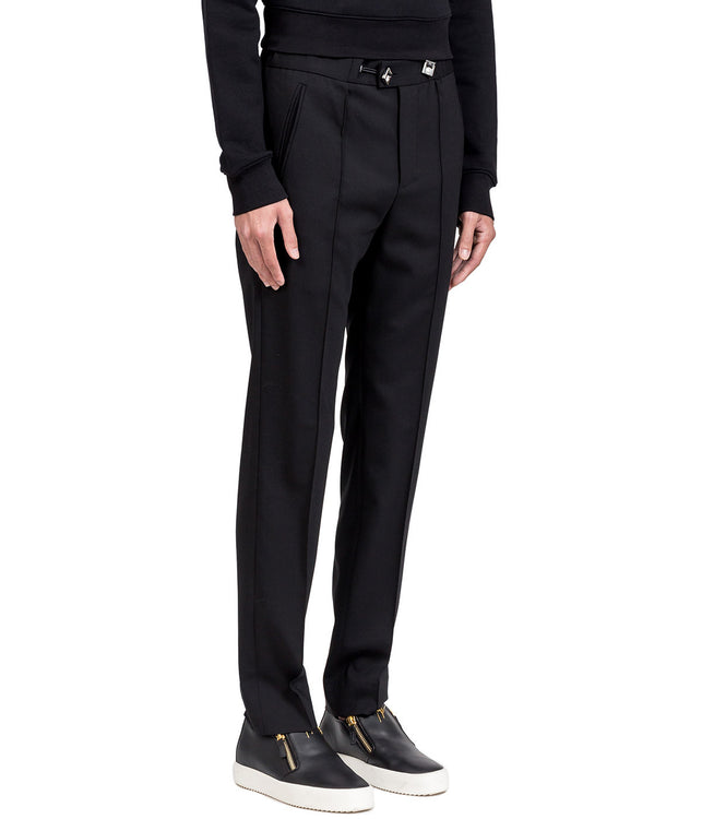 Black Slim Waistband Trousers