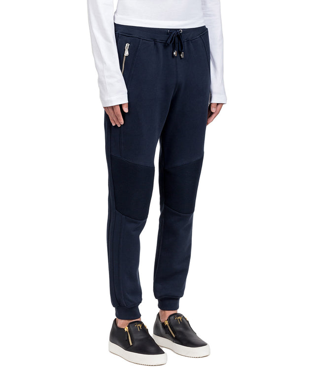 Navy Panelled Sweatpants