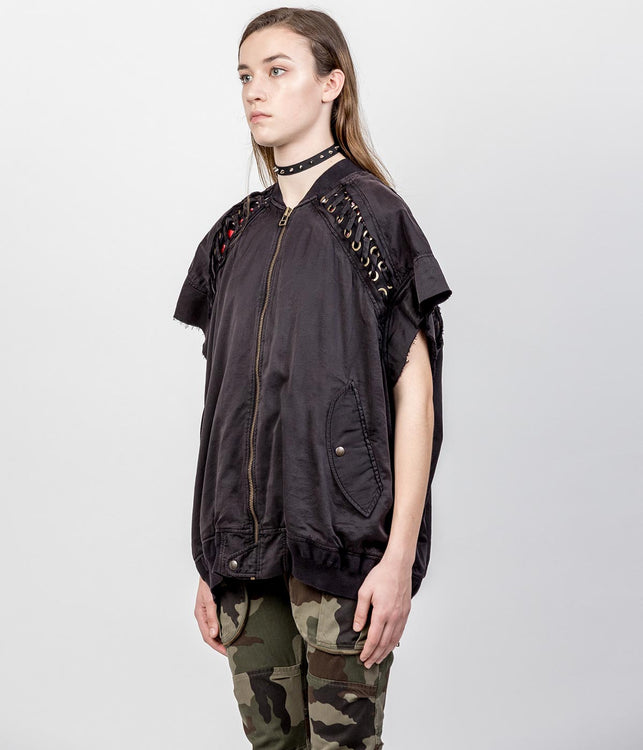 Black Short Sleeve Lace-Up Bomber Jacket