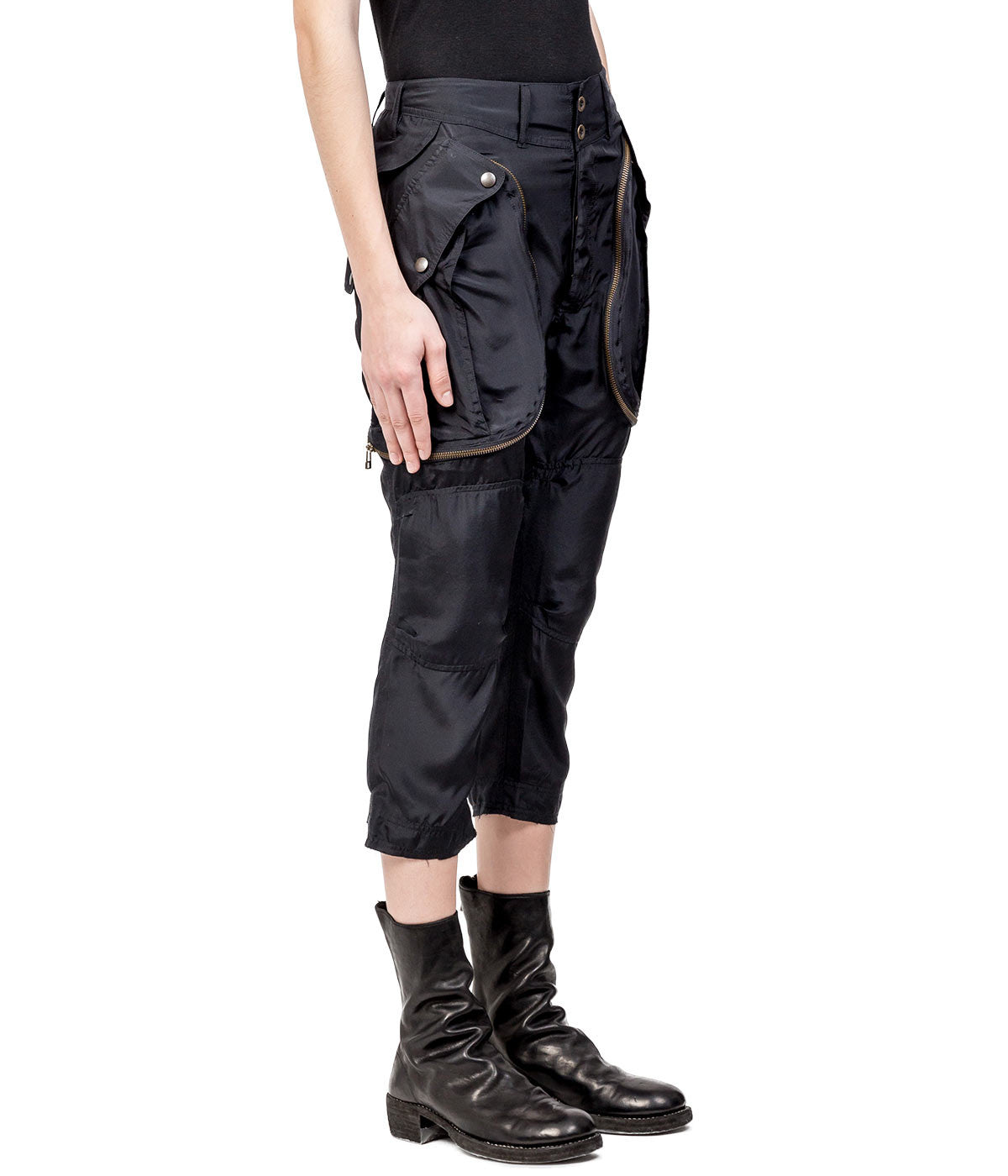Black Silk Cargo Pants