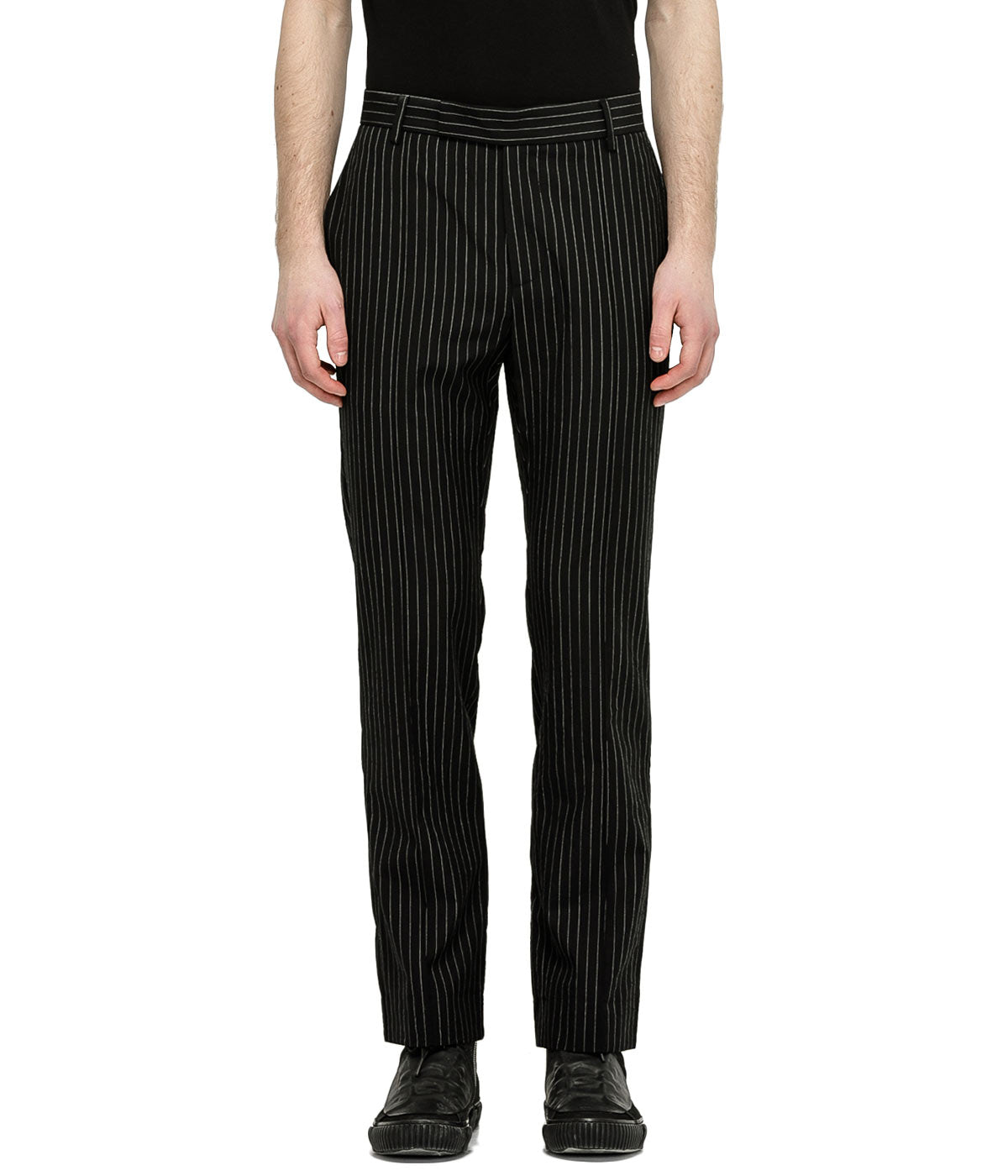 Black Striped Slim Trouser
