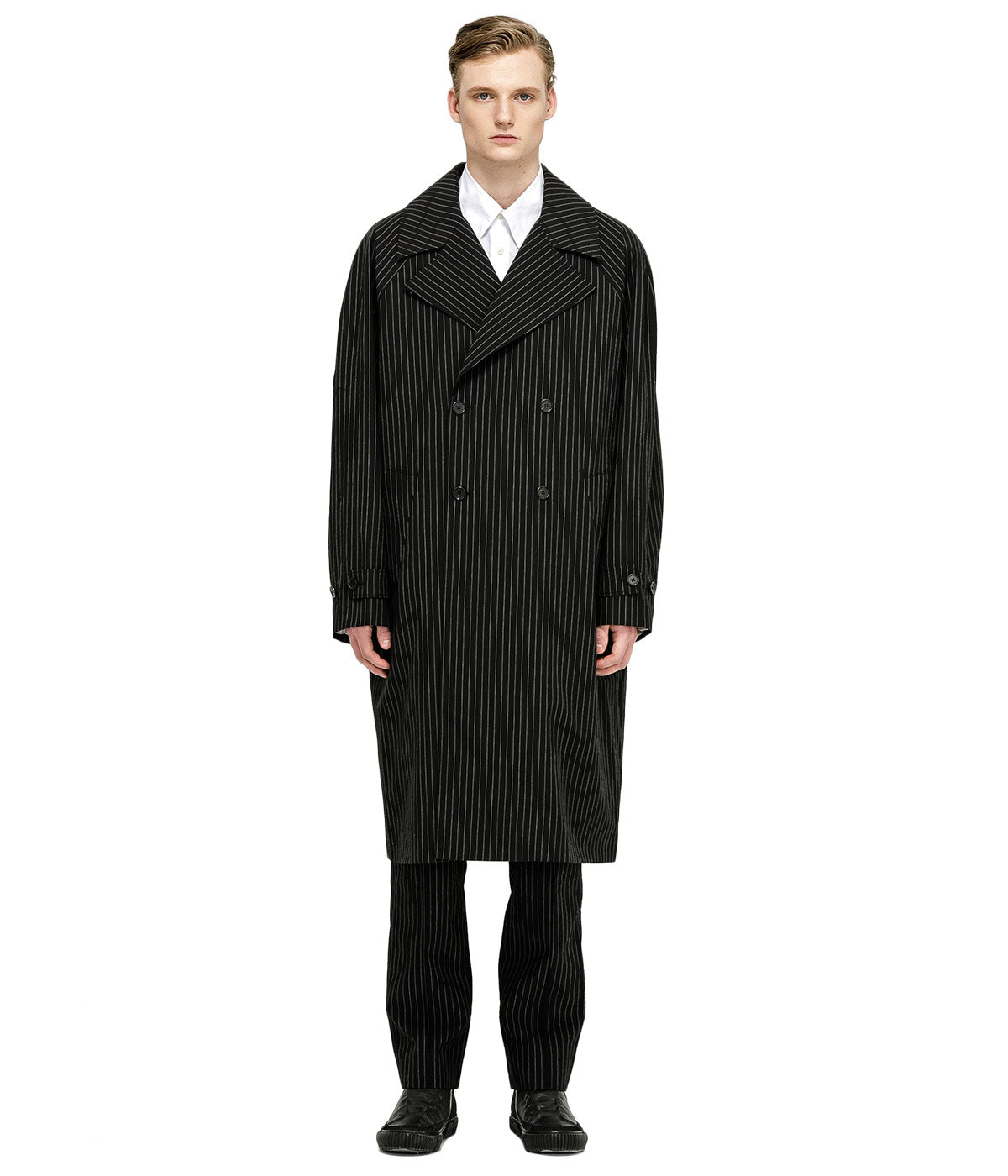 Black Nylon Sleeves Trench Coat