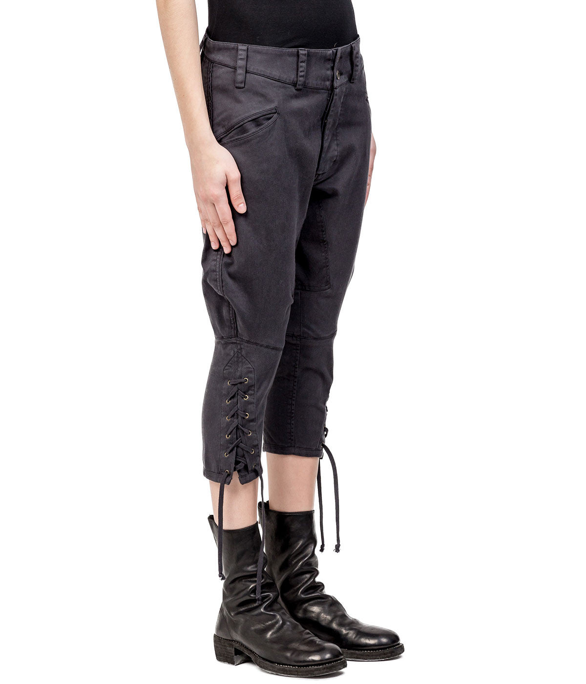Black Lace-Up Denim Pants