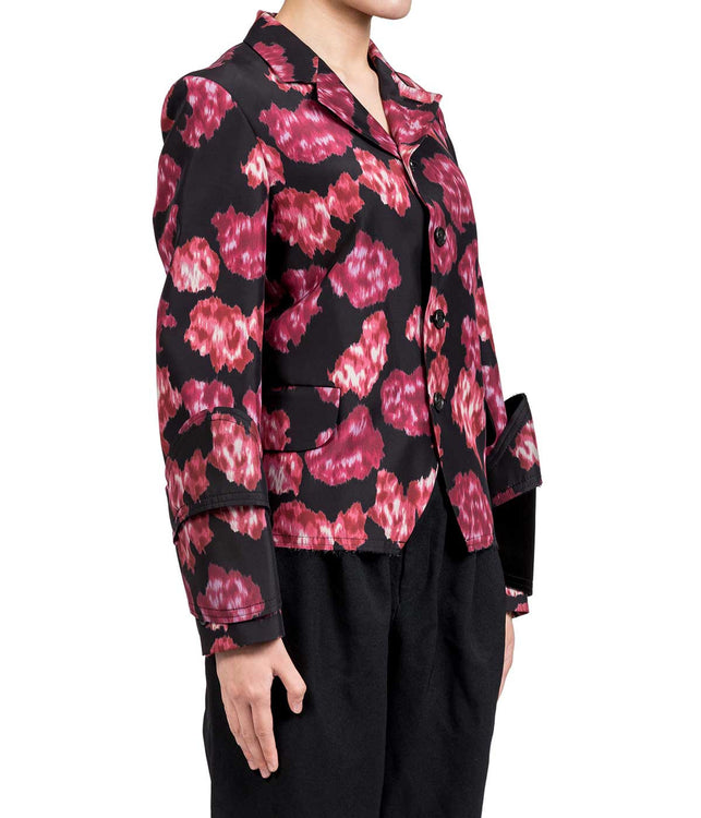 Black & Red Washed Floral Blazer