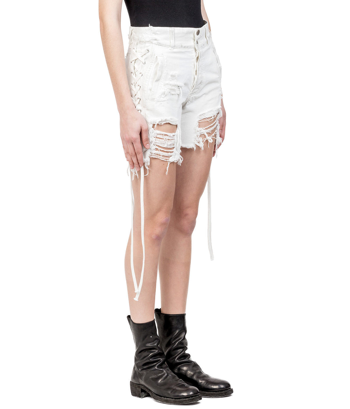 White Distressed Lace-Up Denim Shorts