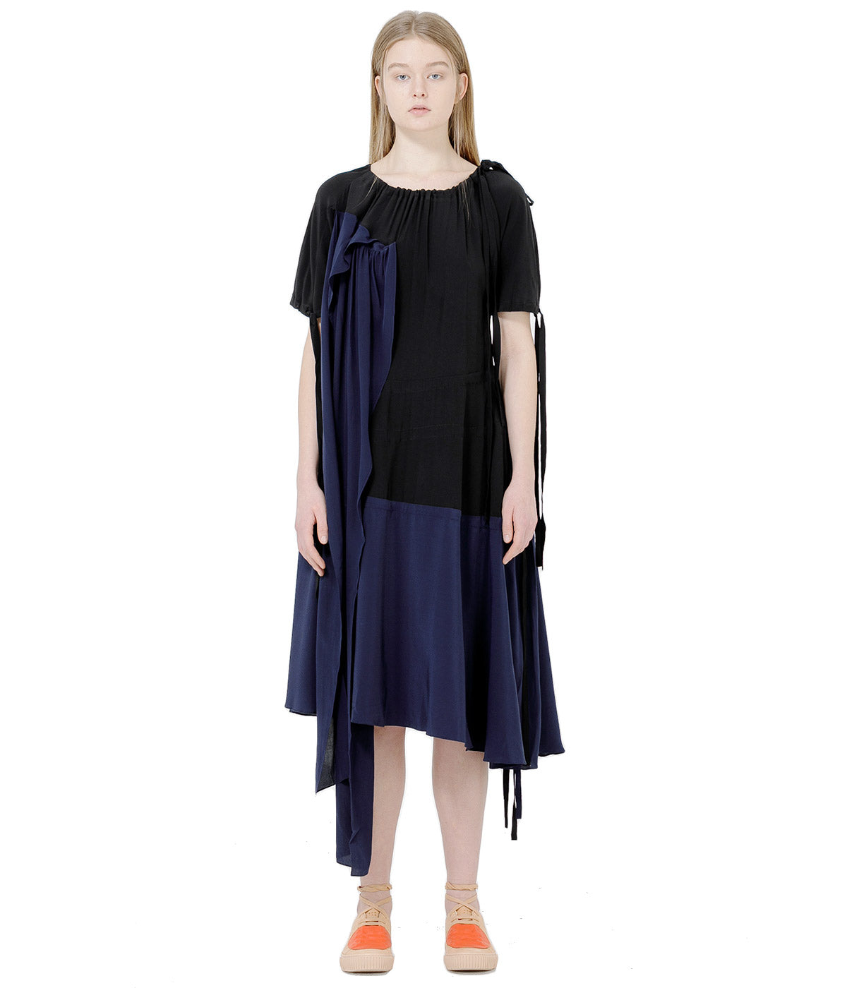 Black Silk Drawstring Dress