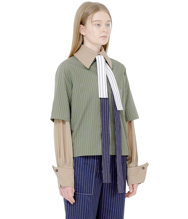 Khaki Green Striped Layer Shirt