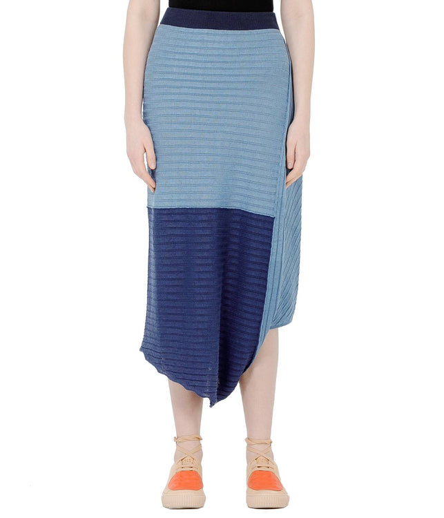 Blue Asymmetrical Linen Skirt