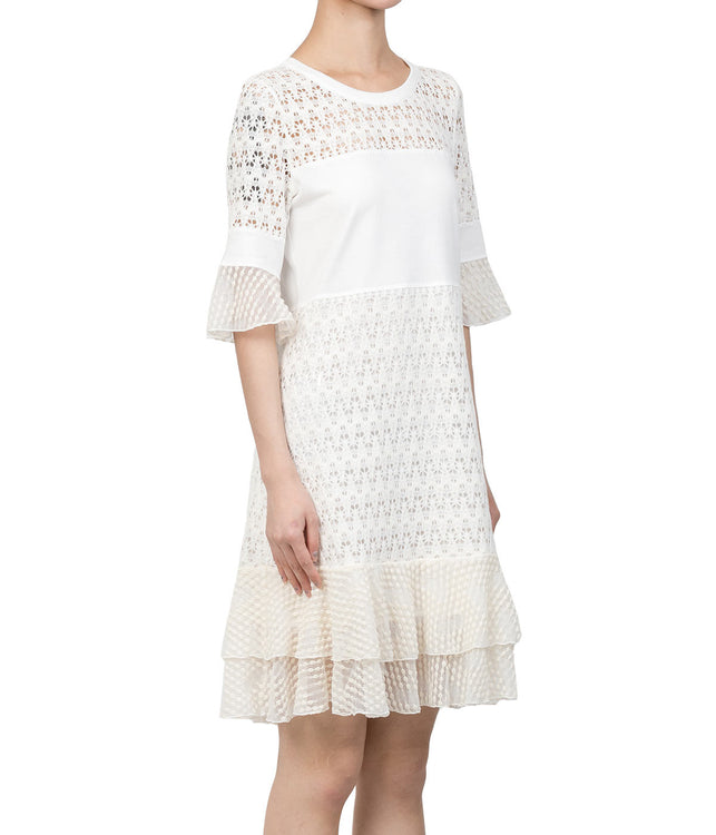 White Tiered Lace T-Shirt Dress