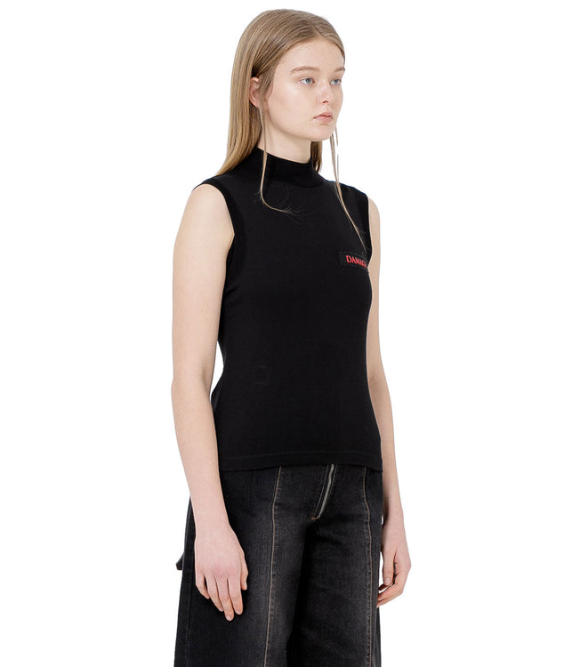 Black Mock Turtleneck Tank Top
