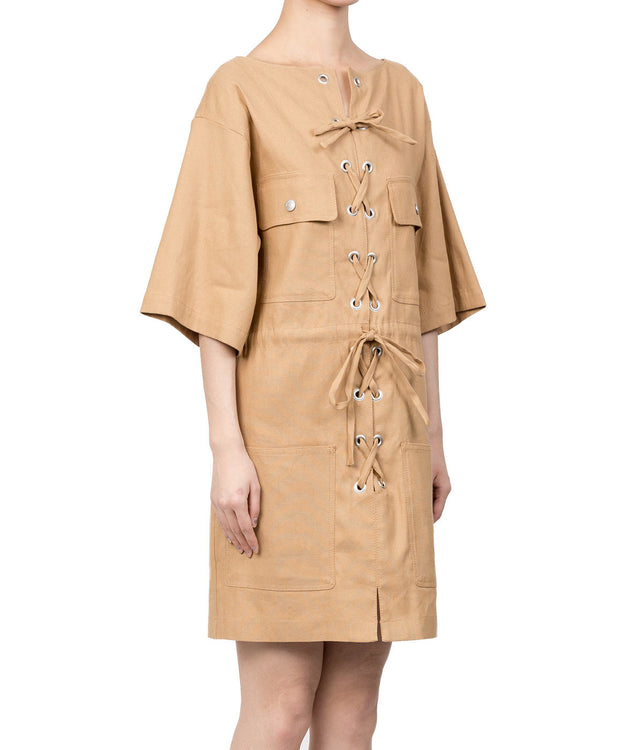 Camel Brown Lace-Up Dress