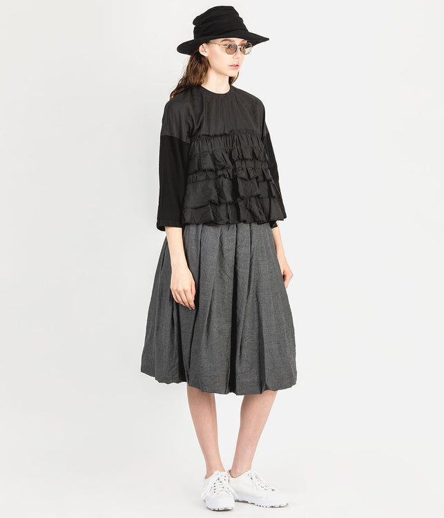 Black Ruffled Contrast Shirt