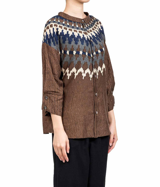 Dark Brown Knitted Print Shirt