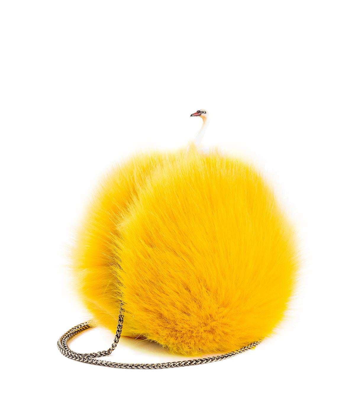 Yellow Pom Swan Sphere Clutch