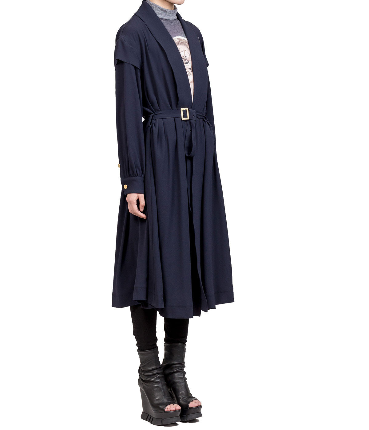 Navy Embroidered Detail Belted Coat