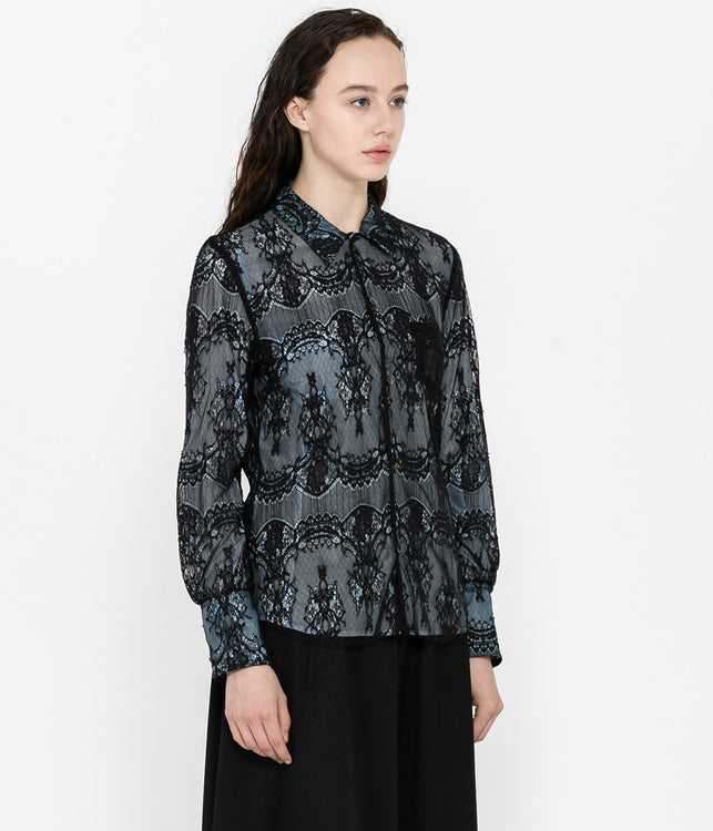 Black Reversible Lace Shirt
