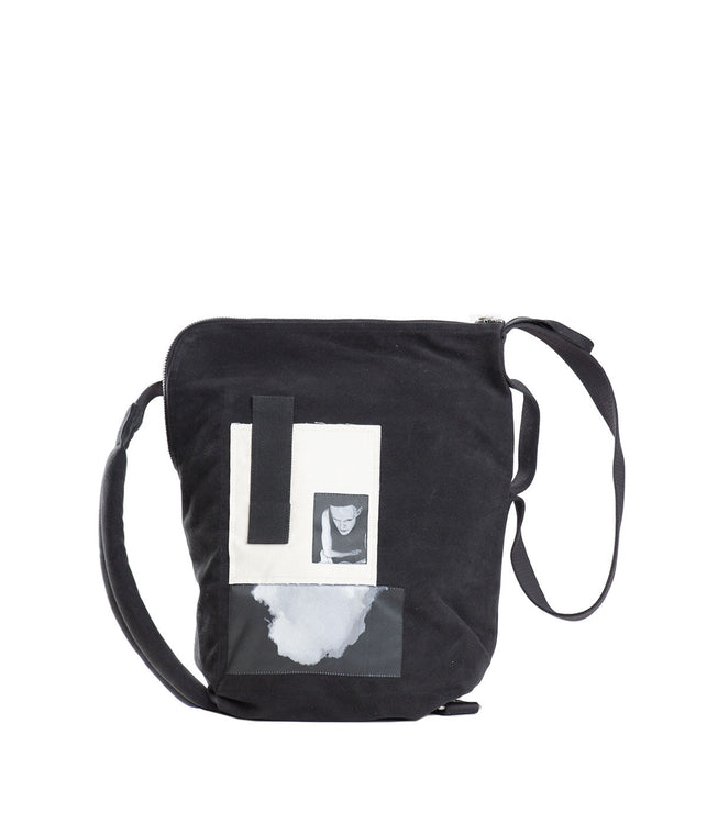 Black Photo Print Shoulder Bag