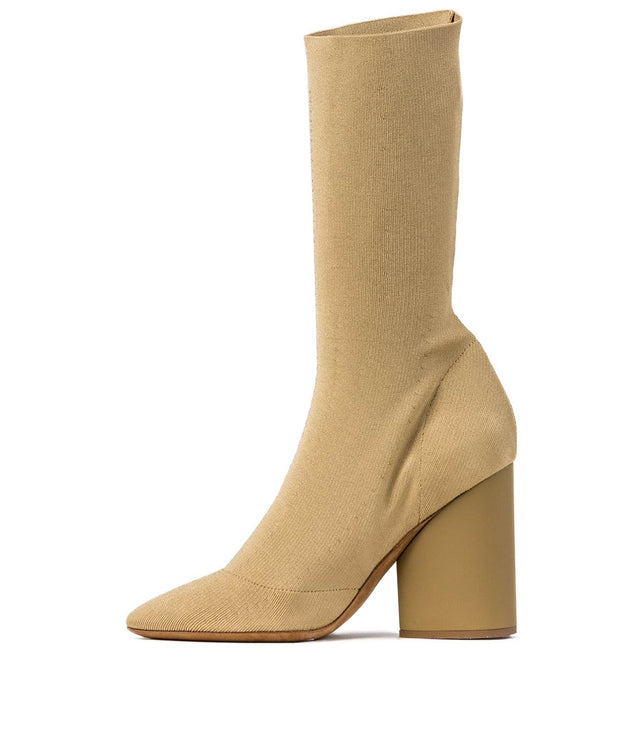 Beige Low Knit Boots