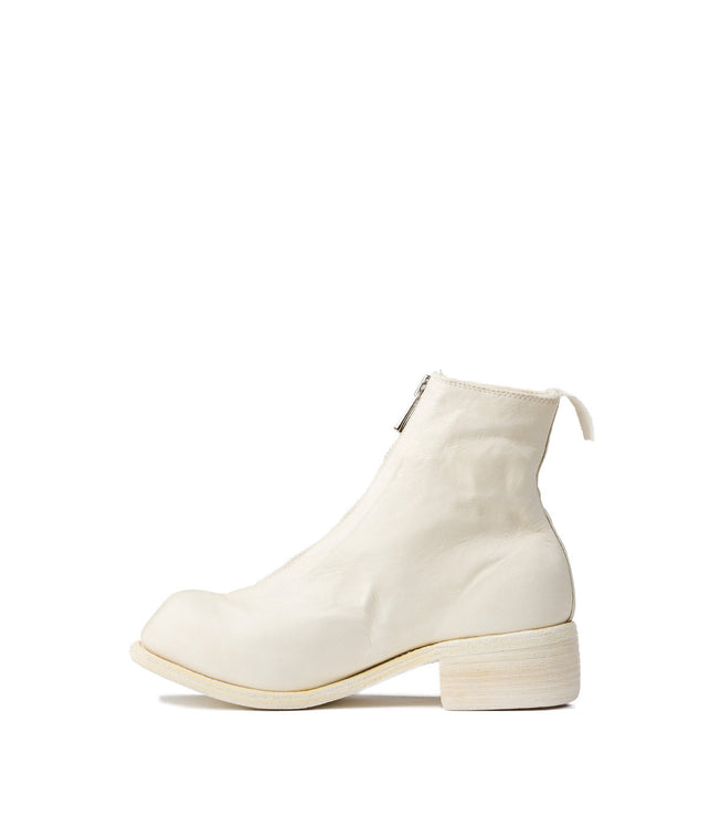 White Soft Full Grain Ankle Boots
