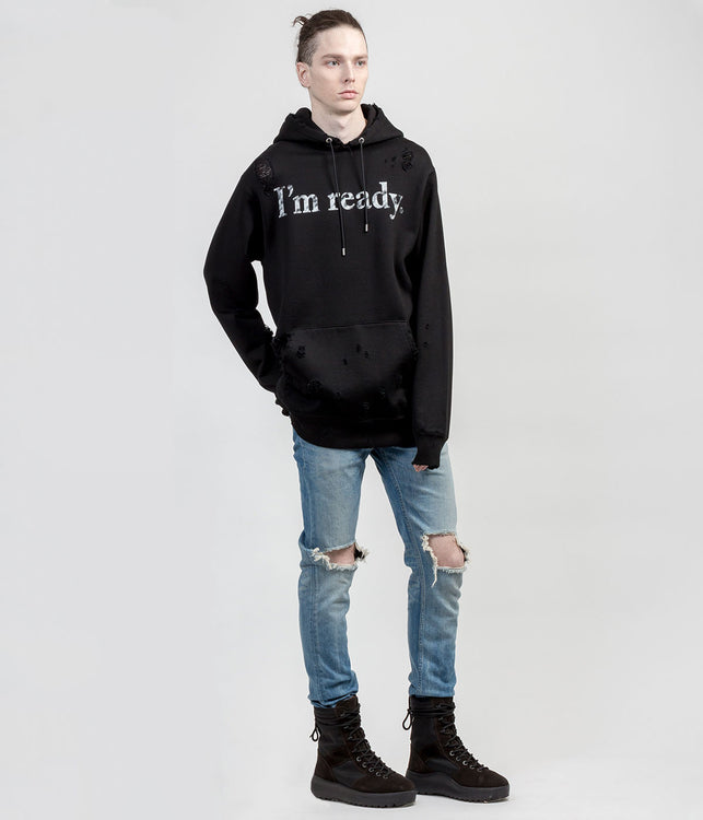 Black 'I'm Ready' Distressed Pullover Hoodie
