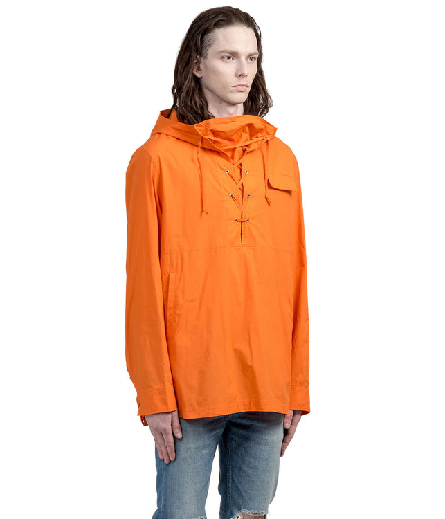 Orange Lace Up Anorak Jacket