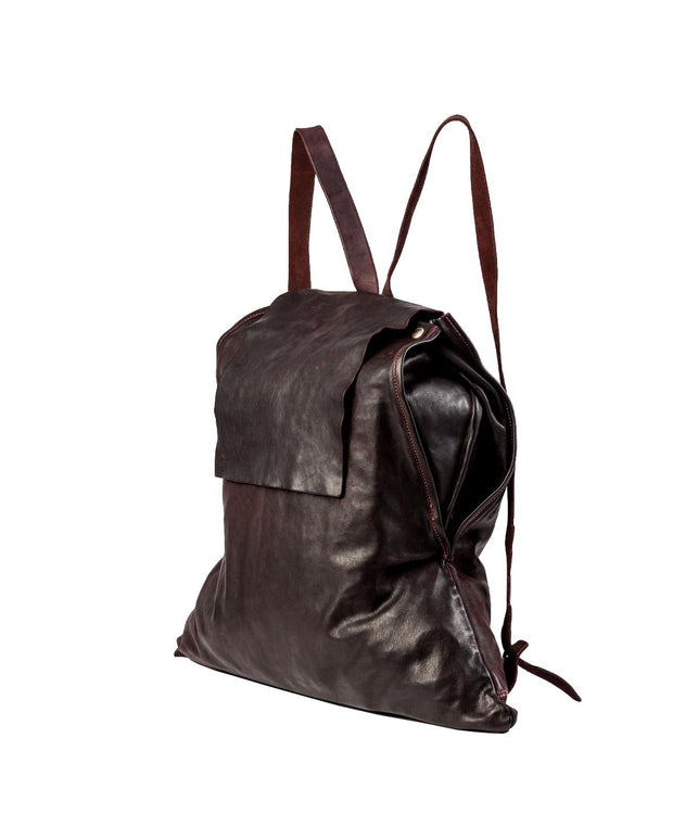 Burgundy Brown Flap Backpack