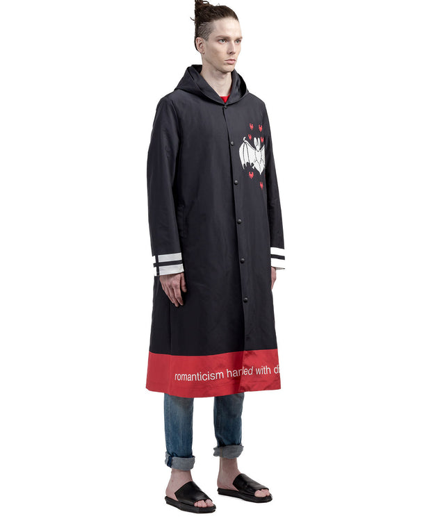 Black Hooded Raincoat