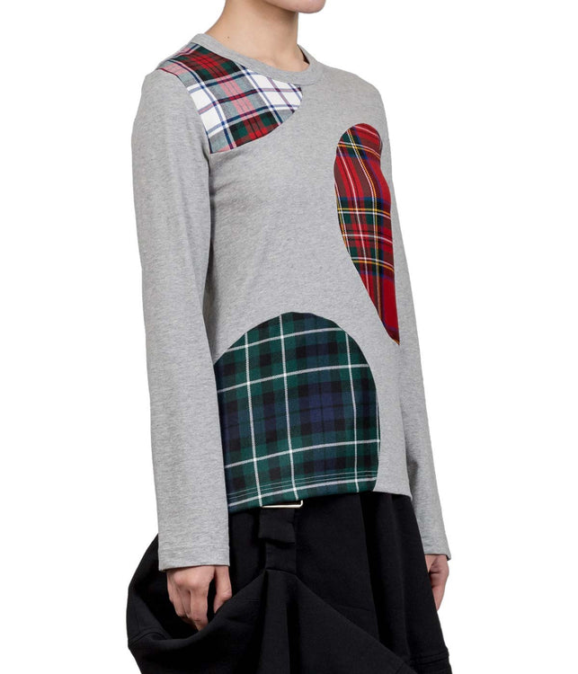 Grey Plaid Patches T-Shirt