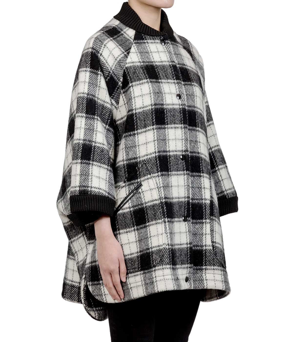 Black & White Oversized Plaid Cape
