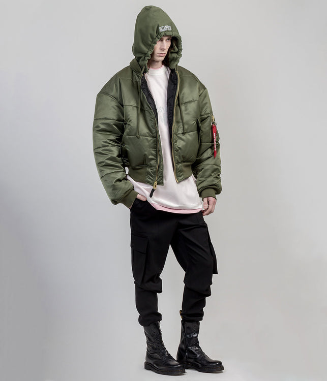 Khaki Green Reversible Bomber Jacket