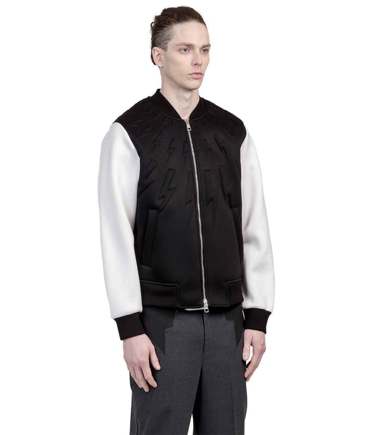 Black Neoprene Bomber Jacket