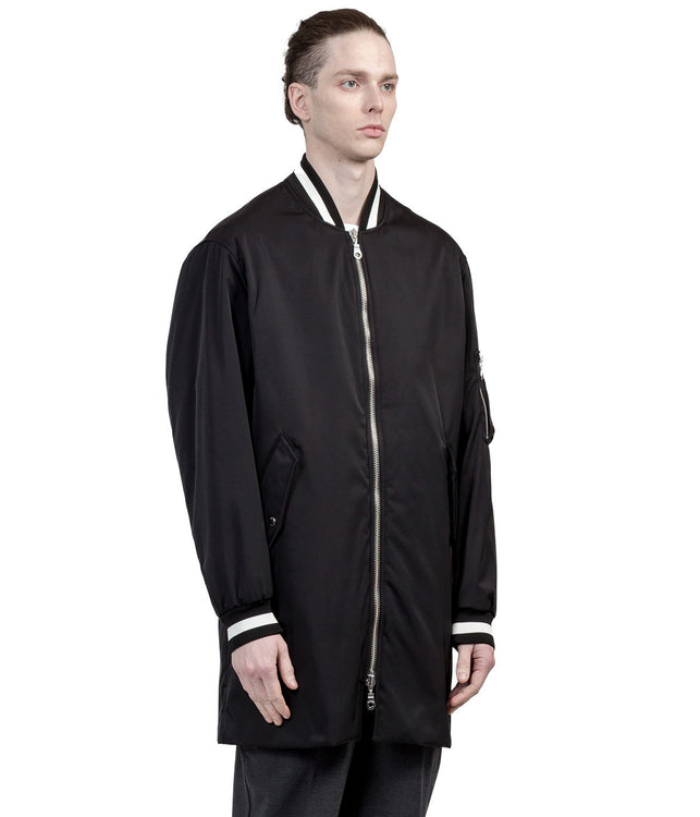 Black Overlong Padded Bomber Jacket