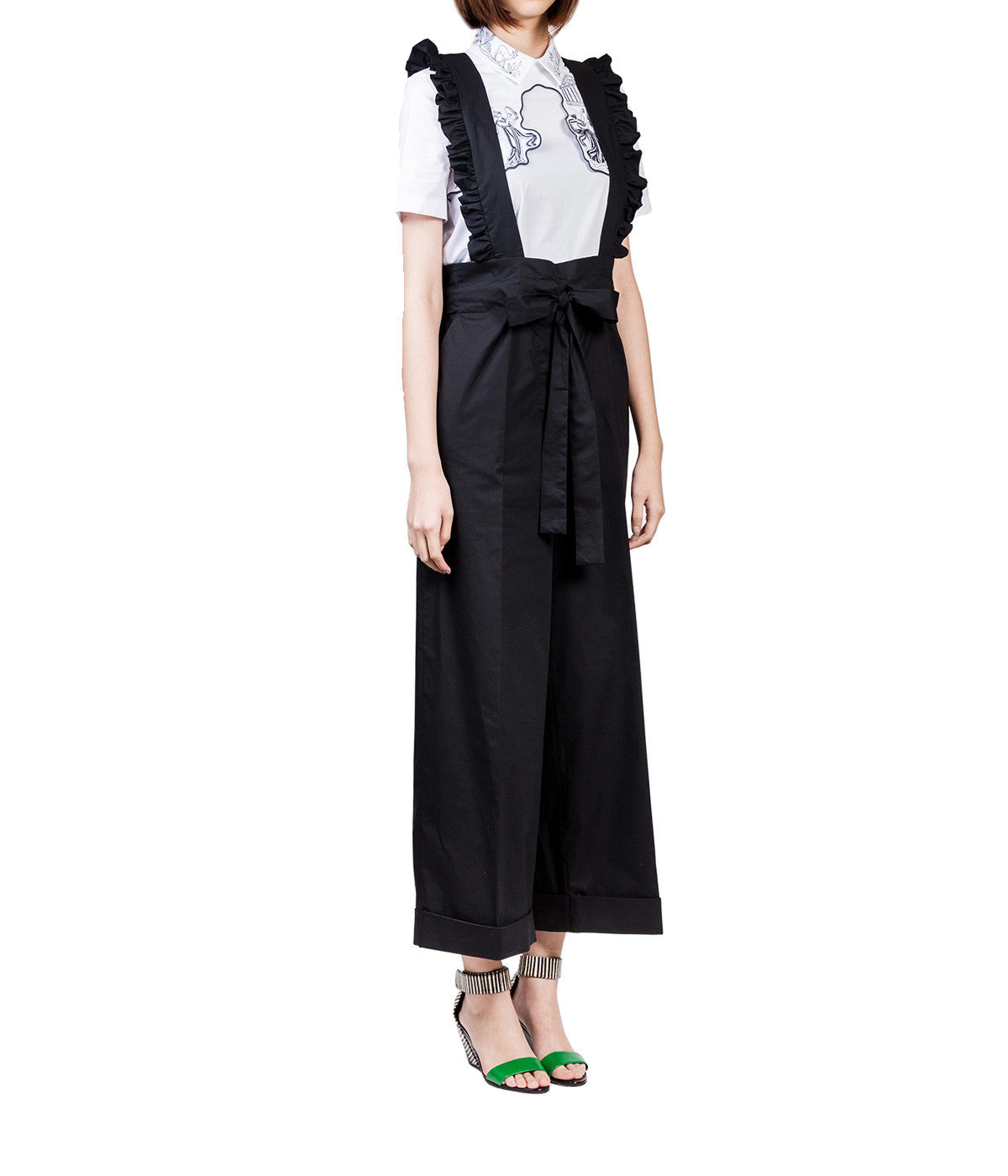 Cropped Trousers with Ruffle Suspenders