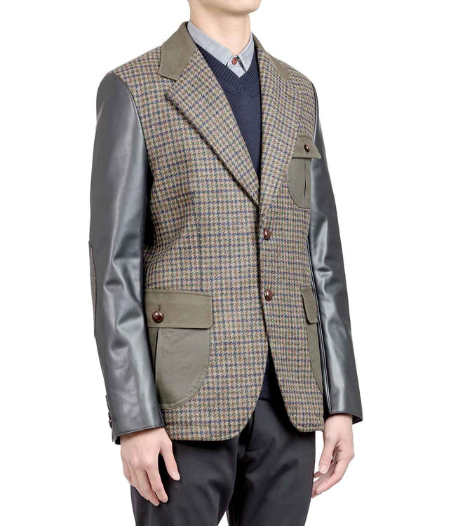 Mixed Media Houndstooth Blazer