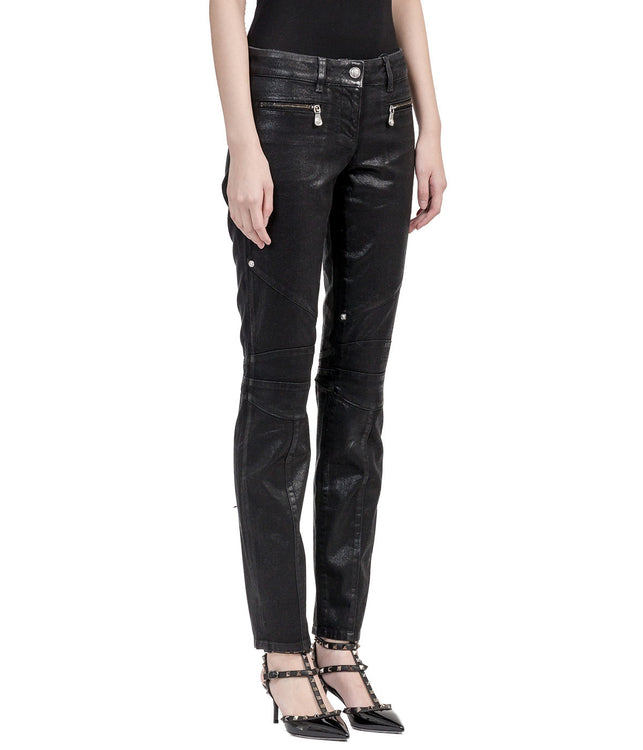 Black Coated Denim Biker Jeans