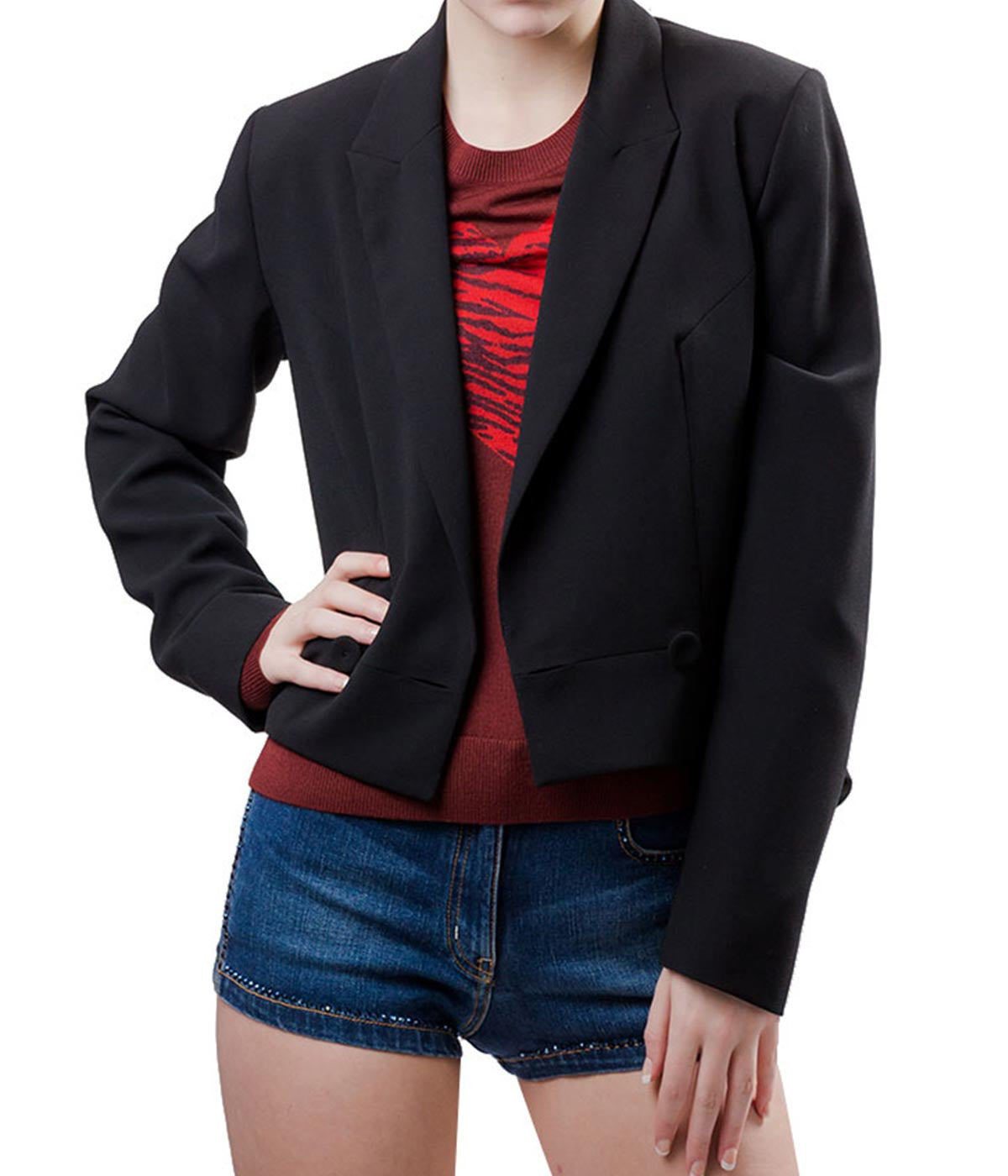 Cropped Black Crepe Blazer
