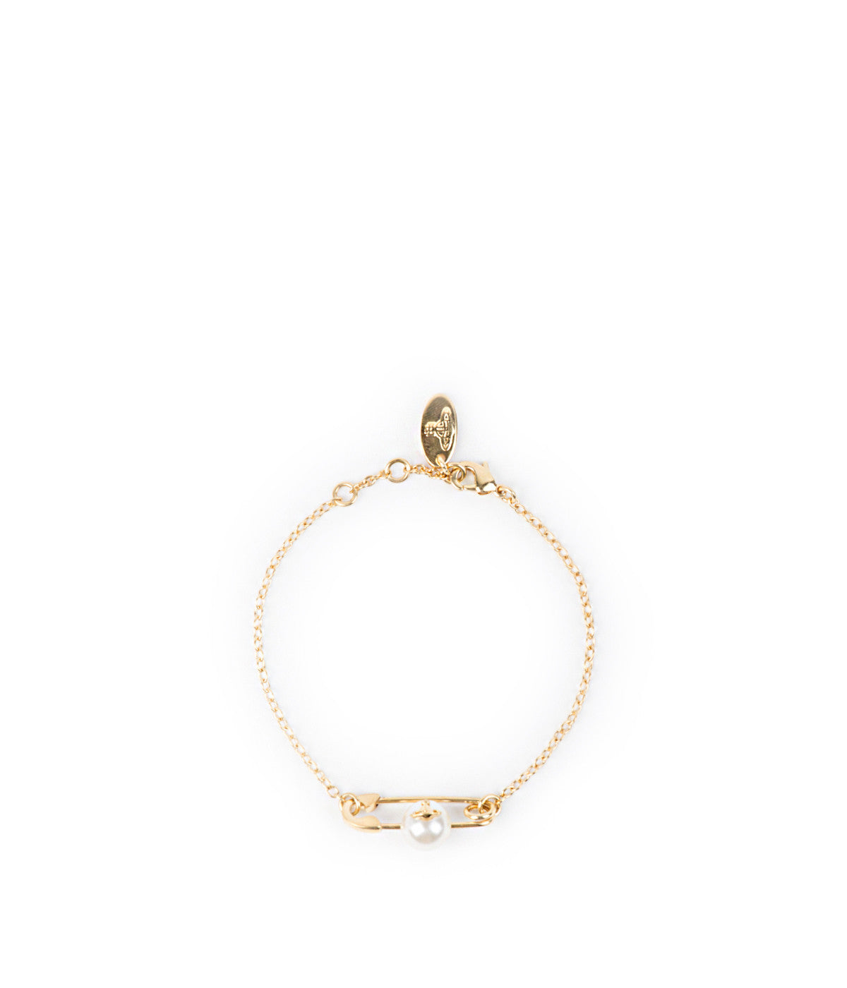 Yellow Gold Safety Pin Chain Bracelet