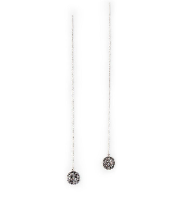 Silver Small Medal Chain Earrings