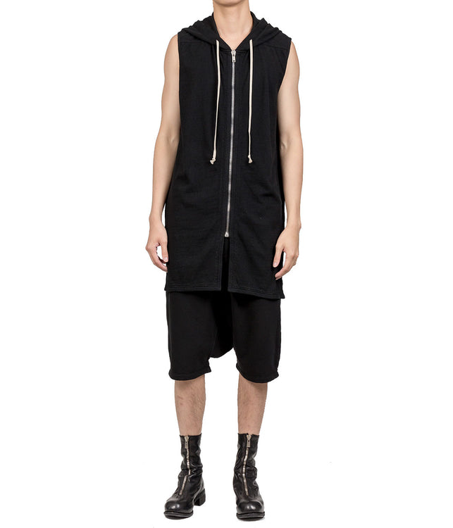 Black Sleeveless Elongated Hoodie