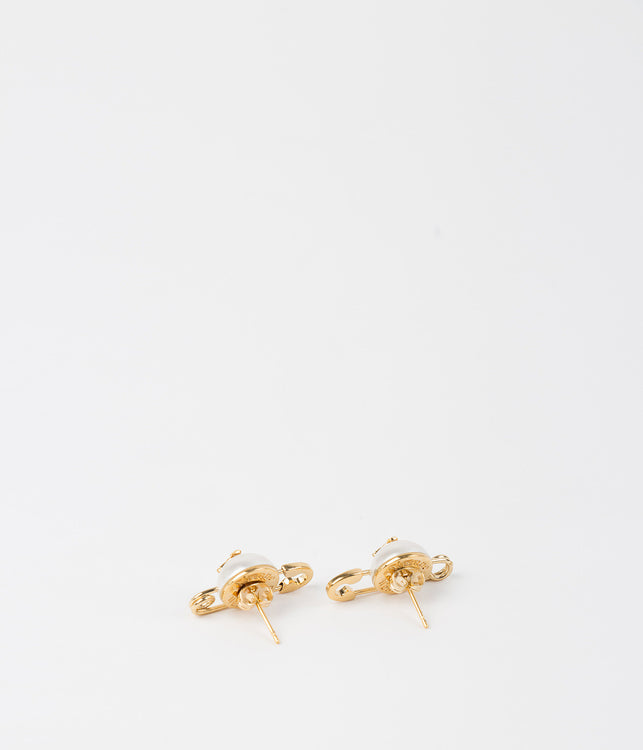 Yellow Gold Safety Pin Pearl Earrings